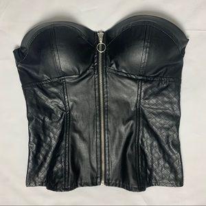 Black Zip-up Corset/Bustier Top Charlotte Russe